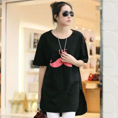 Korean Style Women Fashion Short Sleeve Long T Shirt Tops Loose Mini Dress Plus | eBay