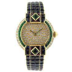 CARTIER Ladies Diamond Ruby Emerald Sapphire Gold Set
