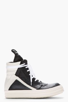 RICK OWENS Black & White Classic Leather Geobasket Sneakers