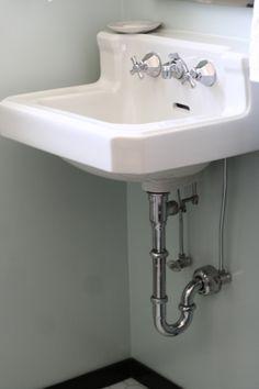 vintage wall-mounted bathroom sink #before