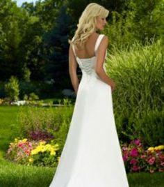 Fancy White Empire Spaghetti Straps Beading Chiffon & Satin Court Wedding Dresses