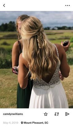 Unique Braided Hairstyles, Prom Hairstyles For Long Hair, Wedding Hairstyles For Long Hair, Cute Hairstyles, Straight Hairstyles, Straight Prom Hair, Prom Hair Tutorial, Eighth Grade, Prom Looks