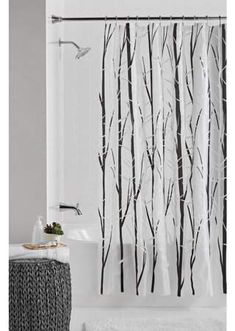 Rustic Shower Curtains, Tree Shower Curtains, Grey Curtains, Shower Curtain Hooks, Bathroom Shower Curtains, Black White Shower Curtain, Utility Sinks, Hunting Cabin, House Plants Decor