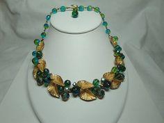 Vintage Schiaparelli Green Aroura Borealis and by Smallstones, $399.99