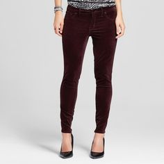 Women's Mid-rise Jegging Velveteen Malbec 8L - Mossimo, Size: 8 Long, Red