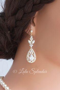Crystal Tear Drop Earrings Rose Gold Wedding Bridal Earrings