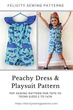 PDF Sewing Pattern for kids dress, jumpsuit, romper, shorts, top; multiple style options in one easy pattern by Felicity Sewing Patterns