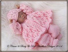 "Lacy Winter Pram Set 7-12"" doll-knitting pattern, reborn, doll, pram set, lacy, babydoll handknit designs"