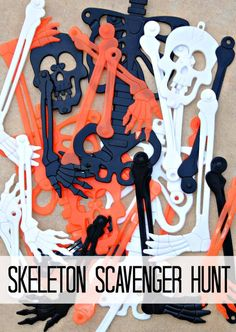 Create and play this skeleton scavenger hunt Halloween game using skeletons from your local dollar store. A fun and easy Halloween game to plan and play! Halloween Scavenger Hunt, Halloween Class Party, Halloween Games For Kids, Kids Party Games, Halloween Birthday, Halloween Activities, Easy Halloween, Holidays Halloween, Halloween 2020