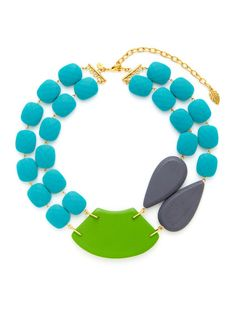 Great, vibrant color! Turquoise, Green, & Grey Multi Shape Double Strand Necklace by David Aubrey on Gilt.com
