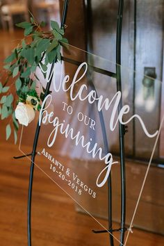 Modern Farmhouse Decor Meets Glam Wedding Style  Welcome to Our Beginning Modern Acrylic Wedding Sign  #Decor #Farmhouse #Glam #Meets #modern #Style #Wedding