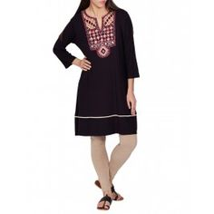 Black Tunic with Embellished Yoke