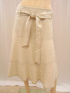 DKNY Linen Metallic Sheened Bias Cut Skirt, Size 2