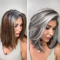 Hairdresser-Gray-Hair-Makeovers-Jack-Martin Long Gray Hair, Brown Blonde Hair, Hair Color Gray Silver, Grey Hair Colors, Curly Gray Hair, Grey Hair Natural, Brown To Grey Hair, Grey Hair Short Bob, Grey Platinum Hair