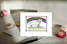 Pet Sympathy Card for Daschund, Wiener or Sausage Dog at Rainbow Bridge by HomemadecardsByDiane on Etsy