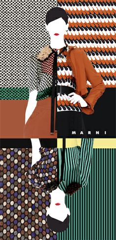 Marni postcard The Marni Group Graphic Patterns, Color Patterns, Print Patterns, Fashion Sketchbook, Fashion Sketches, Pattern Design, Print Design, Fashion Shows 2015, Winter Mode