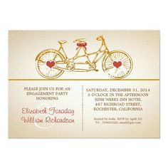bycicle cute engagement party invitations - tap, personalize, buy right now!  #hearts #modern #engagement #engagement #party Funny Wedding Invitations, Rehearsal Dinner Invitations, Engagement Party Invitations, Beautiful Wedding Invitations, Custom Invitations, Invitation Cards, Invitation Ideas, Getting Engaged, Envelope Liners