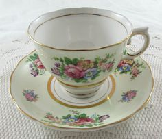Vintage Green Tea Cup and Saucer with Flowers Made by Colclough, English Bone…