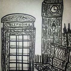 My art! #london #redphonebooth #art #ink