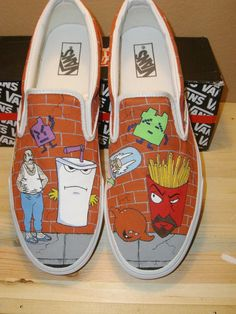 I so want these in converse :) I love aqua teen hunger force Painted Canvas Shoes, Hand Painted Shoes, Harvey Birdman, Aqua Teen Hunger Force, Basement Bar Designs, Thats The Way, Me Too Shoes, Vans, Converse
