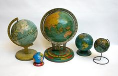 """14 October 2010 :: """"Day 270 —Vintage globes (part two),"""" by Lisa Congdon. Vintage Globe, Vintage Maps, Retro Vintage, Vintage Items, Old Globe, Old World Maps, We Are The World, Cartography, Art Pieces"""
