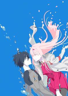 Zero two & hiro -darling in the franxx art Mecha Anime, Anime Love, Querida No Franxx, Anime Shop, Koro Sensei, Nagisa Shiota, Familia Anime, Zero Two, Fan Art