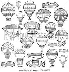 Set of colorful cute balloon, aerostat. Line illustration by KateVogel, via Shutterstock