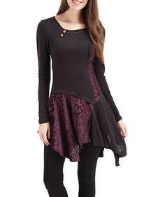 Joe Browns Women's Delightful Devore Long Sleeved Tunic Dress Purple/Black (12)