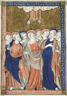 Hours of Alice de Reydon - One of the twelve full-page miniatures in this manuscript, sometimes compared to The Queen Mary Psalter in its style, but not by the master. In common with other English depictions of the Ascension, the Virgin Mary and the apostles look on with expressions and gestures of astonishment as Christ's feet disappear into the clouds.