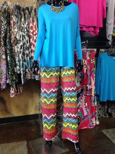 These palazzo pants work great with any color of our piko tops!