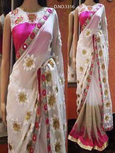 Thankar White And Pink Multy Banglori & Net Saree Sarees #sarees #saris #indianclothes #womenwear #anarkalis #lengha #ethnicwear #fashion #Bollywood #vogue #indiandesigners #handmade #britishasianfashion #instalove #desibride #bollywoodfashion #aashniandco #perniaspopupshop #style #indianbeauty #classy #instafashion #lakmefashionweek #indiancouture #londonshopping #bridal #allthingsbridal #statementpieces #weddingideas #jewelry #jewellery