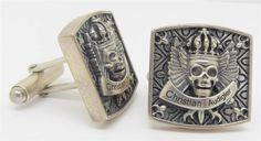 Christian Audigier Sterling Silver Biker Skull Wings Cufflinks Thick and Chunky #ChristianAudigier