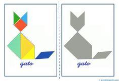 Tangram | Figuras para imprimir online Craft Stick Crafts, Crafts For Kids, Montessori Practical Life, Maila, Learning Toys, Shape Design, Pattern Blocks, Diy Paper, Preschool Activities