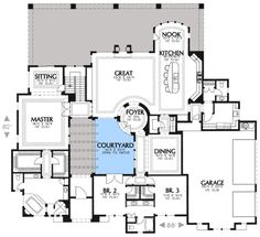 Rear Courtyard House Plans | Plan W16316MD: Mediterranean, Corner Lot, Luxury, Spanish House Plans ...