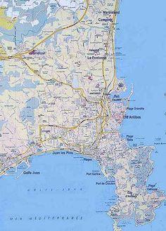 Maps of Antibes, Cap d'Antibes and Juan les Pins