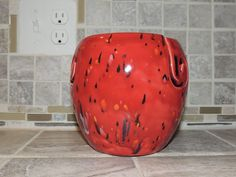 Yarn Bowl, triple thread, unique Red speckled glaze.  Perfect gift for Christmas! Measures 6 x 6 by GabiLuBoutique on Etsy