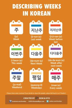 Educational infographic : Describing weeks in Korean. Educational infographic : Describing weeks in Korean Learn Basic Korean, How To Speak Korean, Korean Words Learning, Japanese Language Learning, Learn Hangul, Korean Writing, Korean Alphabet, Korean Phrases, Korean Lessons