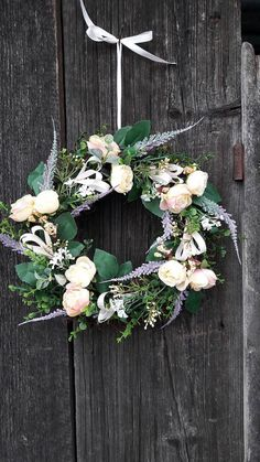 Lienka07 / Celoročny veniec s ružami a levanduľou