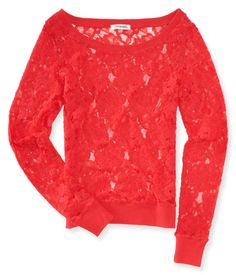 Sheer Long Sleeve Lace Top - Aeropostale Size: Large color: Coral crush