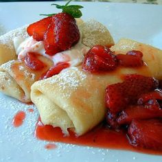 "Strawberry Blintzes - for a little ""something special"" breakfast one of these weekends. :)"