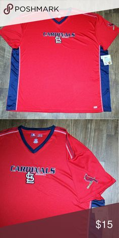 St. Louis Cardinals Licensed Jersey Big & Tall Baseball season is just around the corner! What better way to support your favorite team than showing your Redbird pride! All my Cardinal gear is authentic officially licensed MLB merchandise. 100% Polyester with TX3 Cooling technology.   I will send your shipping fee back with a bundle of 3 or more! MLB Other