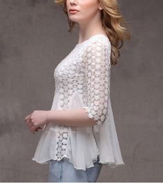 White Chiffon Blouse vintage lace blouse women by happyfamilyjudy