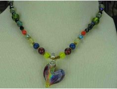 1/KIND WHIMSICAL AND ROMANTIC NECKLACE w/Iridescent Art Glass Heart and gemstones!