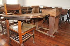 Old School Classroom Chair and Desks