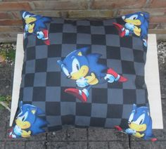 Sonic The Hedgehog vintage fabric Cushion nintendo - Handmade by Alien Couture on Etsy, $25.79 AUD