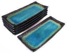 Turquoise Sky and Earth Rectangular Sushi Plates Japanese Dinnerware Set for Six