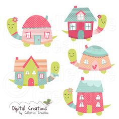 Turtle House - Home Sweet Home Digital Clip Art Set - Personal and Commercial… Art Wall Kids, Art For Kids, February Baby, Owl Illustration, Owl Cartoon, Cute Clipart, Class Decoration, Doodle Drawings, Clip Art