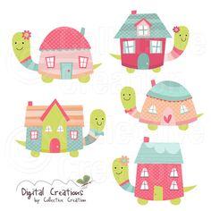 Tortuga - hogar dulce hogar Digital Clip Art Set - uso Personal y comercial de la casa