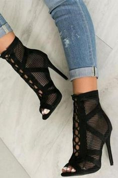 a5ead25ae52d Black Net Suede Fabric Gladiator Sandals Lace-up Peep Toe Boot