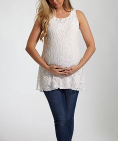 Love this PinkBlush Ivory Lace Maternity Tank - Women by PinkBlush Maternity on #zulily! #zulilyfinds
